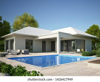 3d rendering of a bungalow with a pool