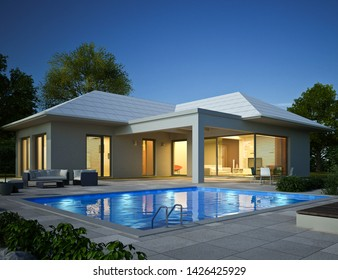 3D rendering of a bungalow with pool in the evening