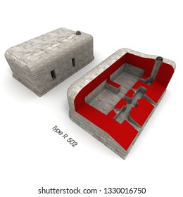 3D rendering of a bunker exterior a a cross section of one