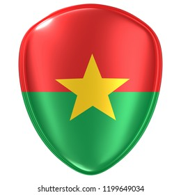 3d rendering of a Burkina Faso flag icon on white background.