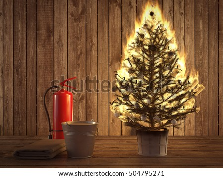 3d rendering. burning christmas tree with fire extinguisher and bucket  beside. - Royalty Free Stock Illustration Of 3 D Rendering Burning Christmas
