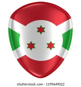 3d rendering of a Burundi flag icon on white background.