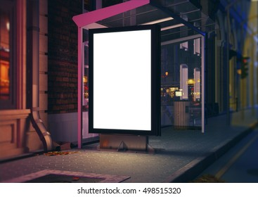 3D rendering of bus station at night
