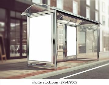 3d rendering of bus stop mockup