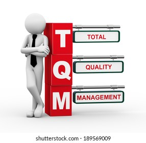 3d rendering of business person standing with tqm - total quality management. 3d white people man character.