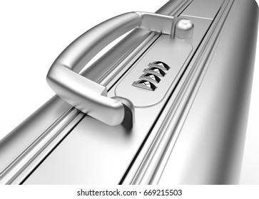 3D rendering business steel suitcase macro view