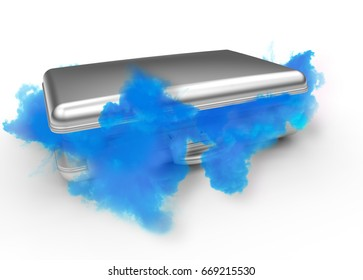 3D rendering business steel suitcase with smoke