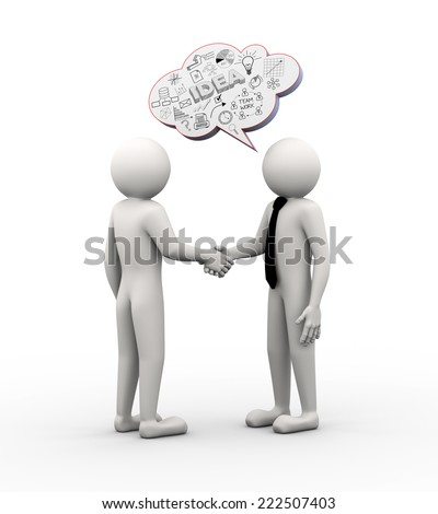 3 D Rendering Businessman Handshake Bubble Speech Stock Illustration