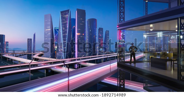 3d rendering businessman stand in office viewing beautiful modern city