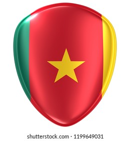 3d rendering of a Cameroon flag icon on white background.
