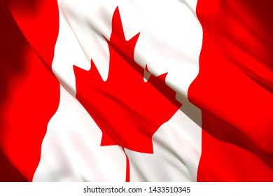 3d rendering of a Canada national flag waving