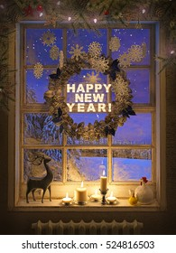 3d rendering of candle lights and frozen window with a new year wreath. New year background.