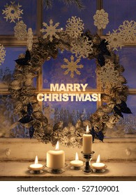3d rendering of candle lights and frozen window with a christmas wreath.christmas greeting card