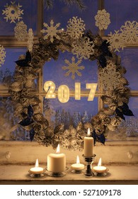 3d rendering of candle lights and frozen windowwith a new year wreath. New year background.