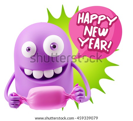 candy gift emoticon face saying happy new year with colorful speech bubble