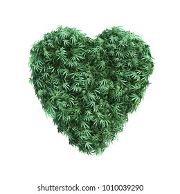 3D rendering of cannabis heart shape