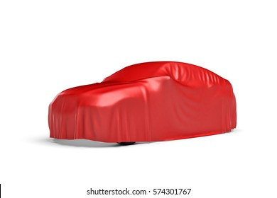 3d rendering of a car covered by red cloth in 45 degrees view. Ads and promotion. Marketing campaigns. Opening shows.