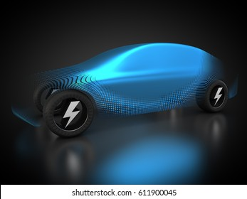3D rendering: Car is powered by electricity.