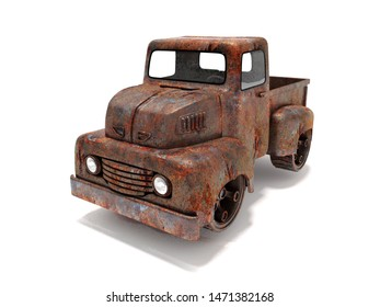 3d rendering car rusty style hotrod  bodywork retro old design vintage white background isolated
