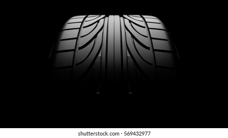 3d rendering of a car tire profile close-up