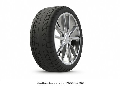 3d rendering Car tires isolated on white background.