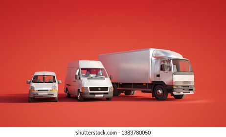 3D rendering of a car, a van  and a truck