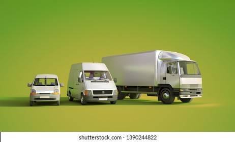3D rendering of a car, a van  and a truck