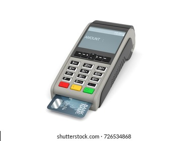 3d rendering of a card payment terminal with a sticking plastic card inside on white background. POS terminals. Payment processing. Merchant services.