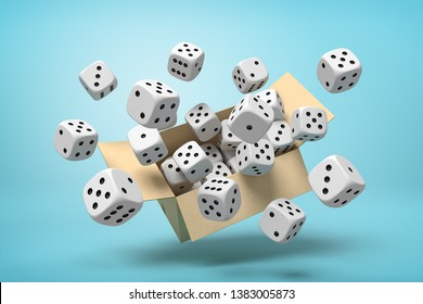 3d rendering of cardboard box in air full of white dice with black spots which are flying out and floating outside on blue background.. Probability calculation. Game supplies. Retail sales.