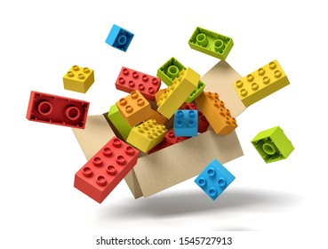 3d rendering of cardboard box in air full of colorful toy bricks which are flying out and floating outside. Children's goods. Toys and games. Toy manufacture.