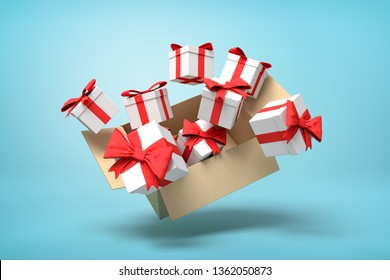 3d rendering of cardboard box flying in air full of gift boxes on light-blue background. Holiday season fuss. Choice of presents. Holiday specials.