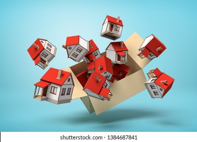 3d rendering of cardboard box flying in air full of small detached houses which are flying out from it on light-blue background. Estate business. Solution to housing problem. Public welfare homes.