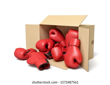 3d rendering of cardboard box lying sidelong full of red boxing gloves. Professional boxing. Buying equipment. Bulk purchase.