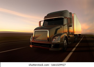3D rendering of a cargo truck on the road at sunset