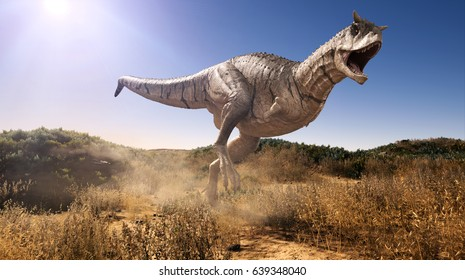 A 3d rendering of Carnotaurus charging through a field.