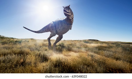 A 3d rendering of Carnotaurus looking for food in a flat and dry landscape.