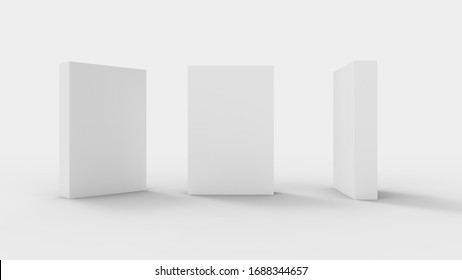 3D rendering of a cartboard product rectanglular packaging isolated in bright studio background