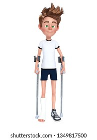 3D rendering of a cartoon boy having a broken leg in cast and using crutches. White background.