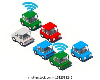 A 3D rendering of cartoon cars on white background. Some cars has a WiFi signal to show online ride hailing cars