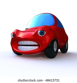 3d rendering of a cartoon character of a red sad car isolated on white background