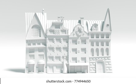3d rendering of cartoon european houses. Stylized old town made of paper. Monochrome painted city on white background. Winter street illustration set for your design.