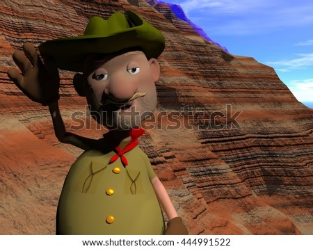 3 D Rendering Cartoon Illustration Old Prospector Stock Illustration