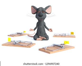 3D rendering of cartoon mouse doing yoga, sitting in a lotus pose with hands in a Chin Mudra pose and meditating with its eyes closed surrounded by mouse traps. Concept of staying calm.