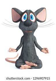 3D rendering of a cartoon mouse doing yoga, sitting in a lotus pose with hands in a Chin Mudra pose. White background.