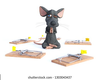 3D rendering of cartoon mouse doing yoga, sitting in a lotus pose and meditating or praying with one eye open, looking nervous, surrounded by mouse traps. Concept of staying calm. White background.