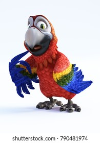 3D rendering of cartoon parrot looking surprised or like he has been busted. White background.