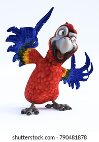 3D rendering of cartoon parrot talking. White background.