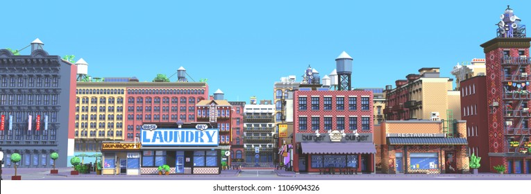 3d rendering of cartoon stylized town. Pixel art city. Typical New York historic district with old red brick buildings and small shops. Urban area. Front perspective view of the street facades.