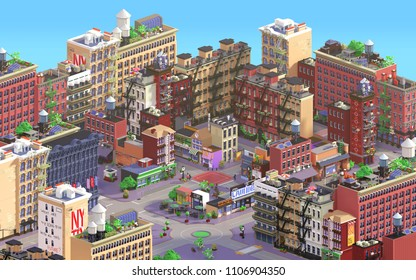3d rendering of cartoon stylized town. Pixel art city. Typical New York historic district with old red brick buildings and small shops. Urban area. Isometric bird's eye view on streets and crossroads