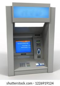 3d rendering cash machine bank dispenser isolated
